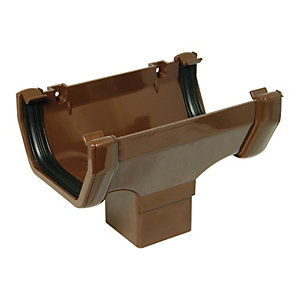 Wickes Brown Squareline Gutter Running Outlet