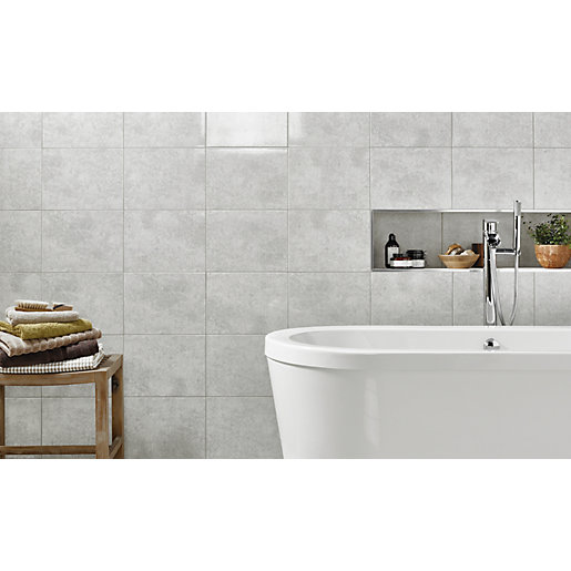 Bathroom Tiles Wickes : Wickes tivoli grey ceramic wall tile mm