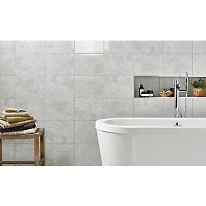 Wickes Tivoli Grey Ceramic Wall Tile 250x330mm