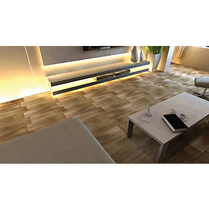 Wickes Soria Hickory Beige Wood Effect Ceramic Tile