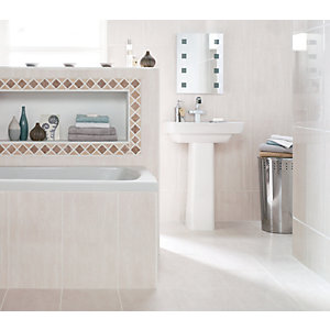 Wickes Beige Matt Travertine Mosaic Border Tile 71 x 293mm
