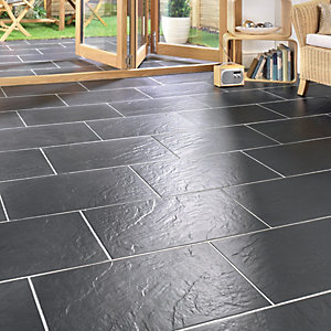 Wickes Riga Black Matt Slate Effect Porcelain Floor Tile 300 x 600mm