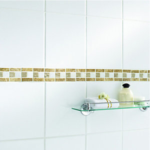 Wickes Mocha Matt Travertine Border Tile 58x305mm