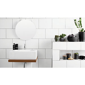 Wickes White Satin Ceramic Wall Tile 250x400mm