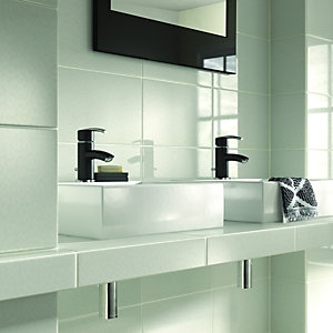 Wickes Mirage White Mosaic Effect Gloss Ceramic Wall Tile 250x400mm