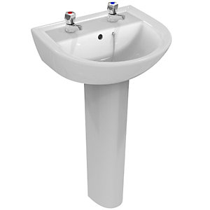 Armitage Shanks Sandringham 21 Washbasin 50cm, 2 Taphole, with Overflow and Chainstay Hole White E894601