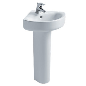 Ideal Standard Concept Arc 45cm Corner Washbasin, 1 Taphole with Overflow White E792801