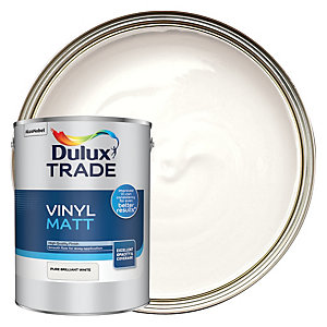 Dulux Trade Vinyl Matt Emulsion Paint Pure Brilliant White 5L