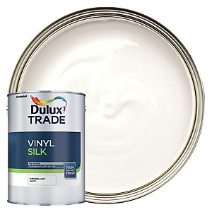 Dulux Trade Vinyl Silk Emulsion Paint Pure Brilliant White 5L