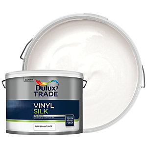 Dulux Trade Vinyl Silk Emulsion Paint Pure Brilliant White 10L