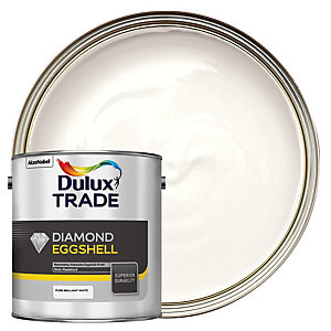 Dulux Trade Diamond Eggshell Emulsion Paint Pure Brilliant White 2.5L