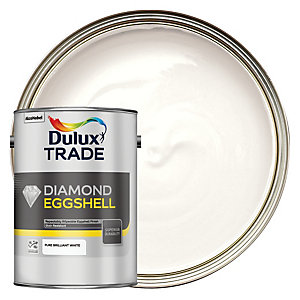 Dulux Trade Diamond Quick Dry Eggshell Emulsion Paint Pure Brilliant White 5L