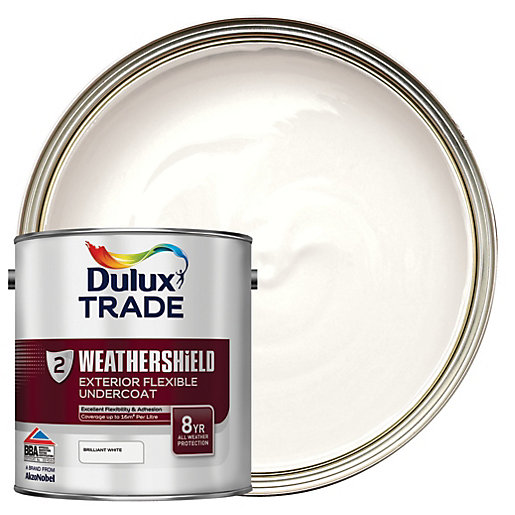 dulux trade weathershield exterior flexible undercoat paint brilliant white 2 5l