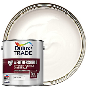 Dulux Trade Weathershield Exterior Flexible Undercoat Paint Brilliant White 2.5L