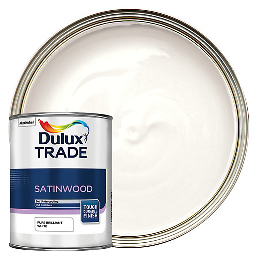 dulux trade satinwood paint pure brilliant white 1l. Black Bedroom Furniture Sets. Home Design Ideas