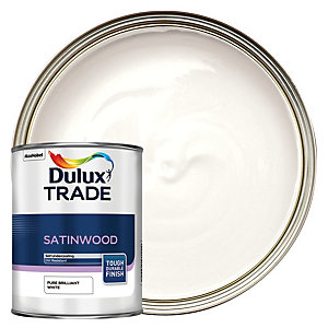 Dulux Trade Satinwood Paint Pure Brilliant White 1L