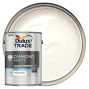 Dulux Trade Diamond Matt Emulsion Paint Pure Brilliant White 5L