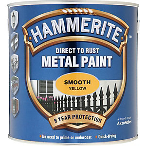 Hammerite Metal Paint Smooth Yellow 2.5L