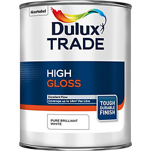 Dulux Trade High Gloss Paint Pure Brilliant White 1L