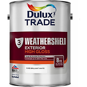 Dulux Paint Weathershield Gloss Pure Brilliant White 5L