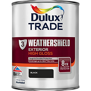 Dulux Weathershield Exterior High Gloss Paint Black 1L
