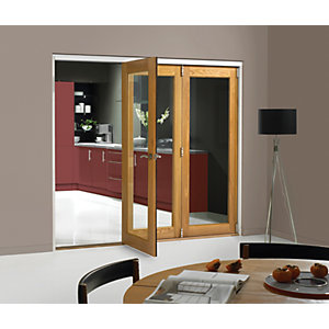 Wickes Belgrave Internal Folding Door Oak Veneer 1 Lite 2074 x 2390mm