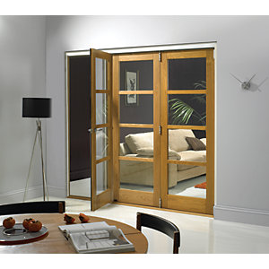 Wickes Belgrave Internal Folding Door Oak Veneer 4 Lite 2074 x 2390mm
