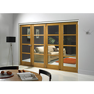Wickes Belgrave Internal Folding Door Oak Veneer 4 Lite 2074 x 2990mm