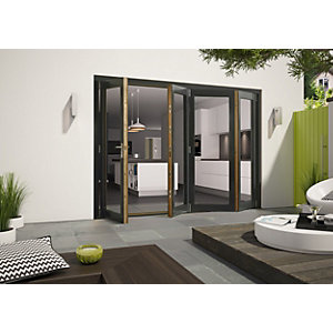 Wickes Cairo External Folding Door set Aluminium-Clad Grey 10ft Wide Reversible