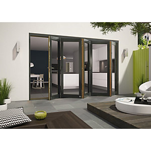 Wickes Cairo External Folding Door set Aluminium-Clad Grey 12ft Wide Reversible
