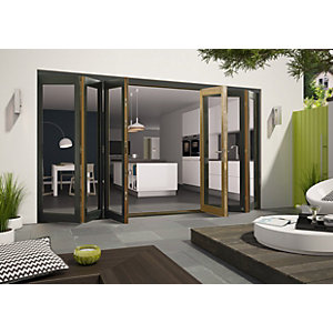 Wickes Cairo External Folding Door set Aluminium-Clad Grey 16ft Wide