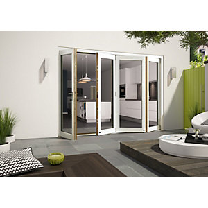 Wickes Cairo External Folding Door Set Aluminium-clad White 10ft Wide Reversible