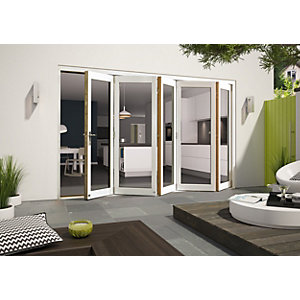 Wickes Cairo External Folding Door set Aluminium-Clad White 12ft Wide Reversible
