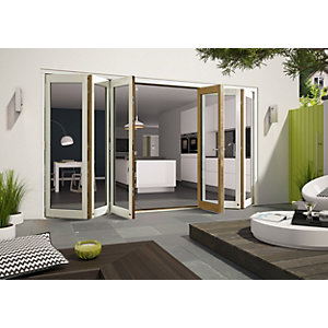 Wickes Cairo External Folding Door Set Aluminium-clad White 16ft Wide