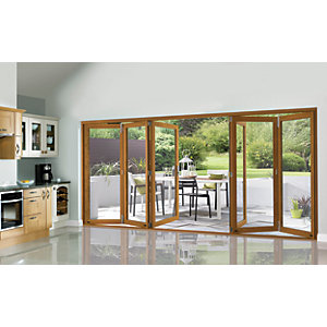 Wickes Eden Oak Veneer Folding Patio Door 14ft Wide Reversible