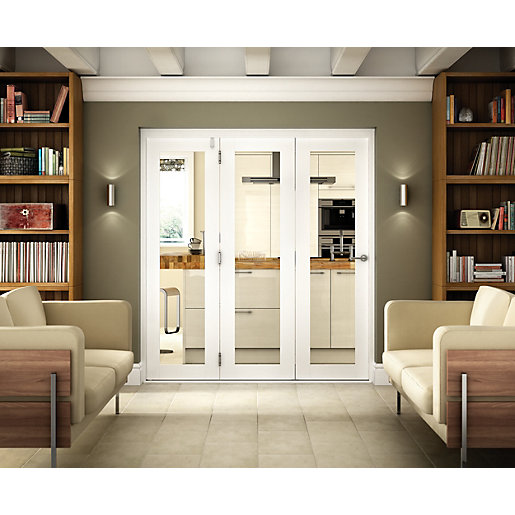 Wickes belgrave internal folding 3 door set white pre finished 1 lite 2074 x 1790mm - Finished white interior doors ...