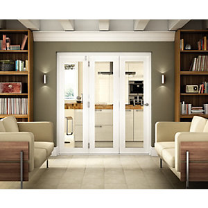 Wickes Belgrave Internal Folding 3 Door Set White Pre-finished 1 Lite 2074 x 2090mm