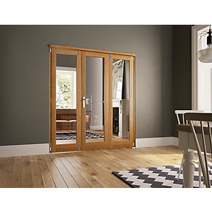 Wickes Newbury Internal Fold Flat 3 Door Set Oak Veneer 2007 x 1790mm