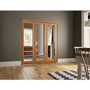 Wickes Newbury Internal Fold Flat 3 Door Set Oak Veneer 2007 x 2090mm