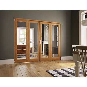 Wickes Newbury Internal Fold Flat 4 Door Set Oak Veneer 2007 x 2390mm