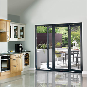 Wickes Burman Finished Folding Patio Door Grey 8ft Wide Reversible