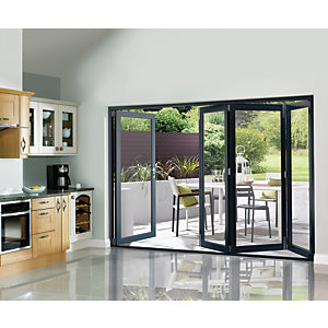 Wickes Burman Finished Folding Patio Door Grey 10ft Wide Reversible