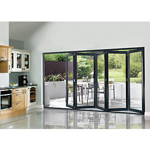 Wickes Burman Finished Folding Patio Door Grey 12ft Wide Reversible