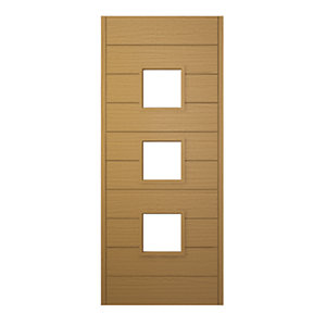 Wickes Malmo External Oak Veneer Glazed Door 1981 x 838mm