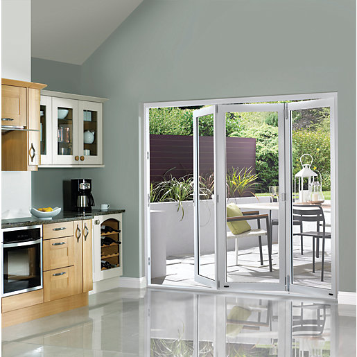 Wickes burman finished folding patio door white 7ft wide for Double wide patio doors