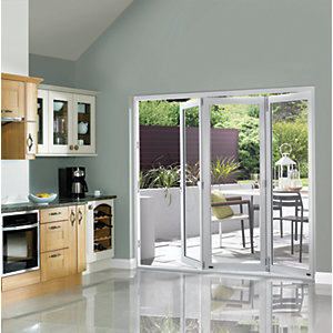 Wickes Burman Finished Folding Patio Door White 8ft Wide Reversible