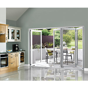 Wickes Burman Finished Folding Patio Door White 10ft Wide Reversible