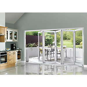 Wickes Burman Finished Folding Patio Door White 12ft Wide Reversible