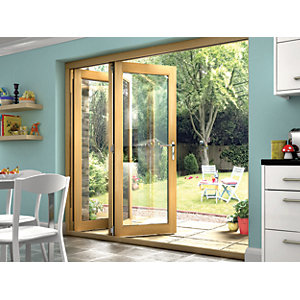 Wickes Isaac Oak Veneer Folding Patio Doorset 8ft Wide Reversible
