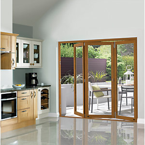 Wickes Eden Oak Veneer Folding Patio Door 8ft Wide Reversible